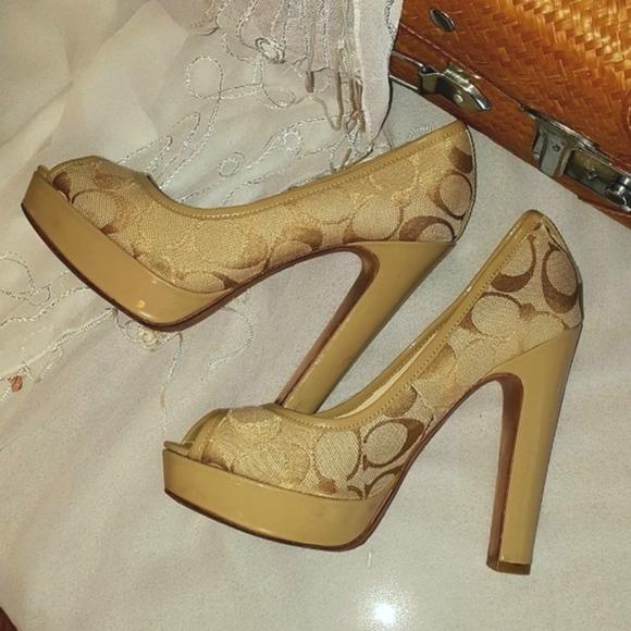 4a0d54fe423 Coach Shoes - Coach Breana Platform Block Open-Toe Heels -Sz 5